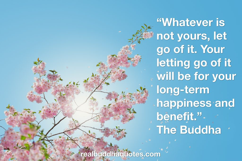 """Whatever is not yours: let go of it. Your letting go of it will be for your long-term happiness & benefit."""
